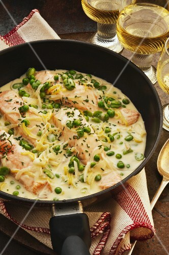 Salmon with a creamy sauce and fresh herbs in a pan