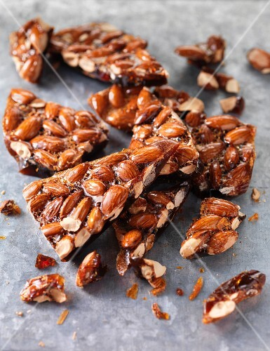 Close up of almond brittle candy
