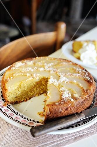 Upside down pear and cinnamon cake