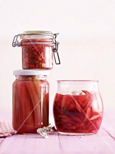 Stewed rhubarb in assorted jars