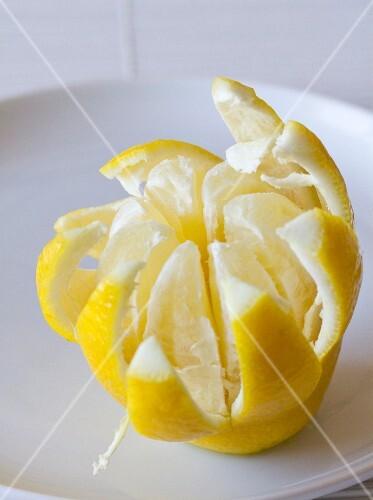 A lemon cut into a flower shape
