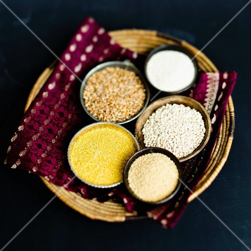 Wheat semolina, wheat, pearl barley, millet and couscous