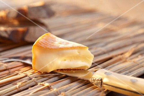 Chaumes cheese on a cheese knife