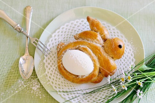 An Easter bunny with an egg