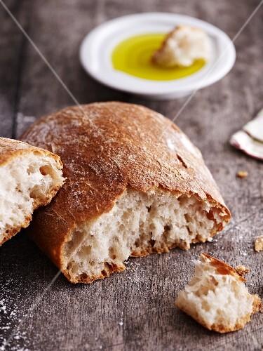 Fresh ciabatta with a good olive oil