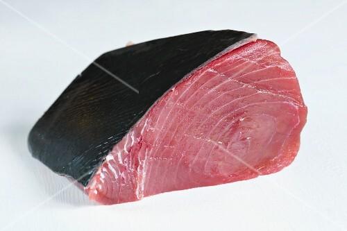 Fresh tuna fillet with skin