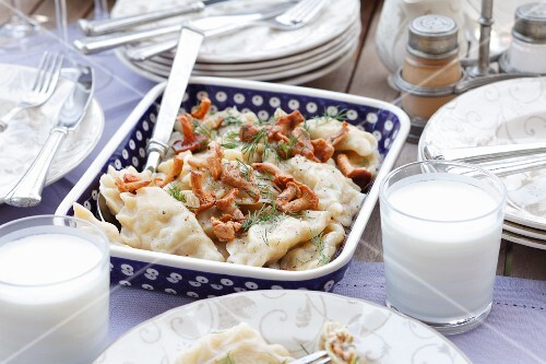 Pierogi with chanterelle mushrooms
