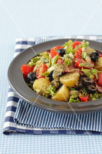 Insalata di patate (colourful potato salad with basil pesto)