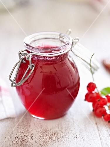 A jar of redcurrant jam