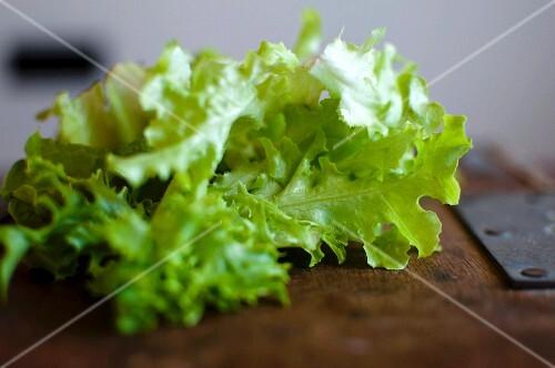 Lettuce on a wooden board