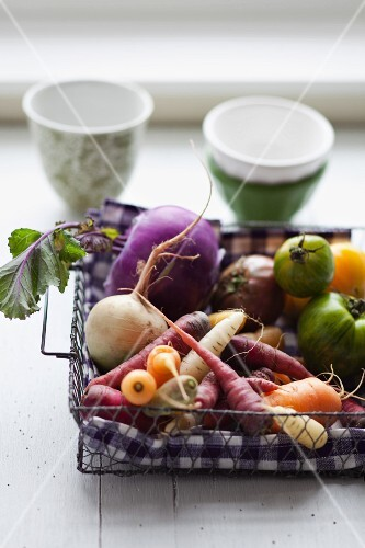 Root vegetables and tomatoes
