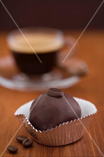A cake ball and an espresso