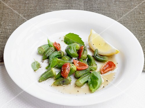 An okra medley with cherry tomatoes