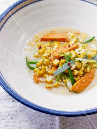 Sweet potato, sweetcorn and spring onion stew