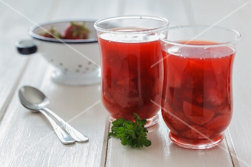 Cold strawberry soup in glasses