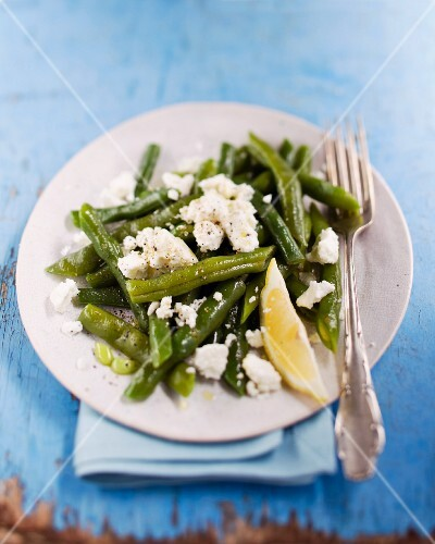 Green beans with feta cheese