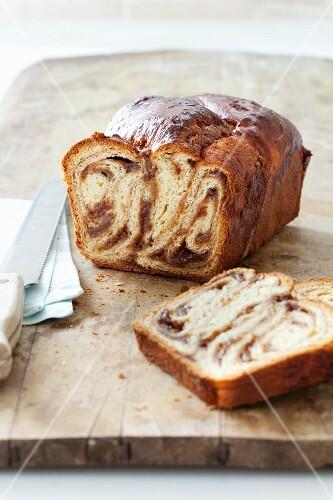 Sliced Loaf of Cinnamon Babka
