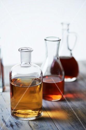 Various Vinegars in Glass Jars