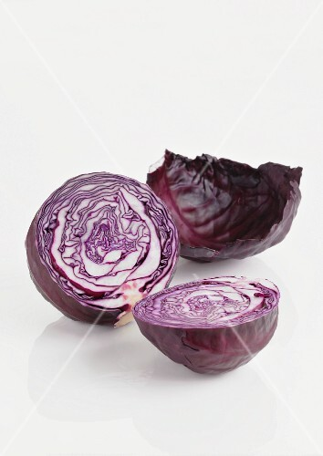 Red cabbage on a white surface