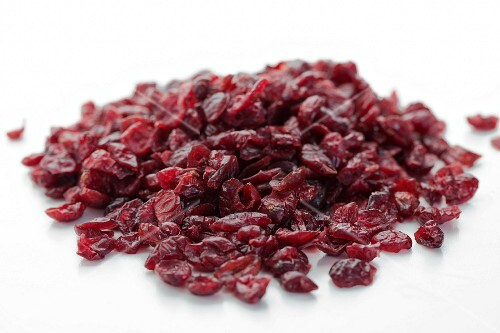 A pile of dried cranberries