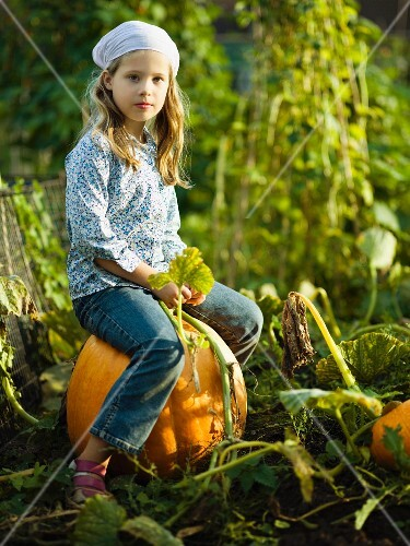 Young girl sitting on a pumpkin