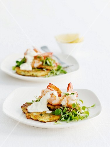 Potato-pumpkin puffers with shrimp and creme fraiche
