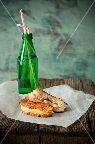Panini with ham and mozzarella