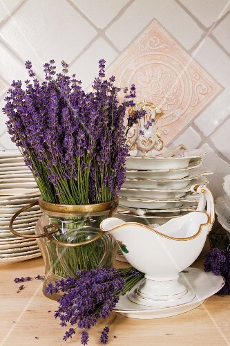 Lavender and crockery