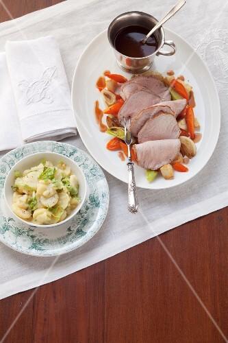 Roast veal with potato salad