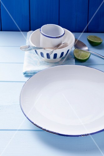 A blue and white plate, a bowl, a cup, cutlery and limes