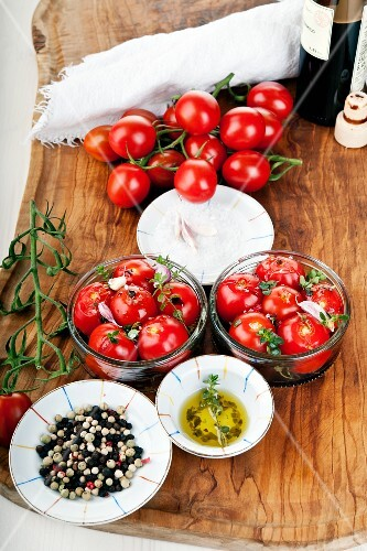 Confit tomatoes in olive oil with lemon thyme and balsamic vinegar