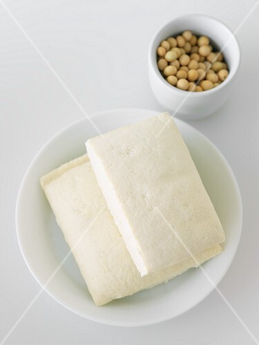 Blocks of Tofu on a White Plate