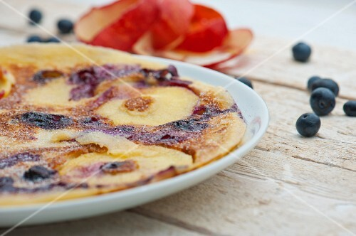 Apple and blueberry pancakes
