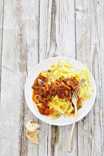 Ribbon pasta with bolognese sauce