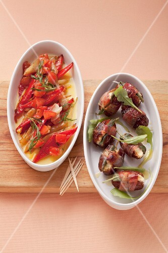 Roasted peppers with rosemary in olive oil and dates wrapped in bacon