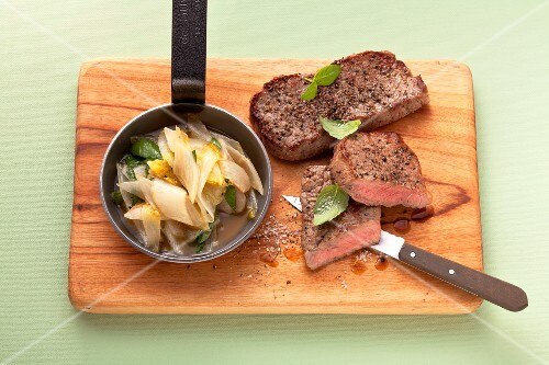 Minute steak with chicory