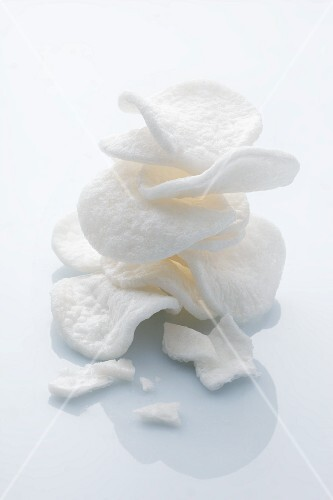 A stack of prawn crackers