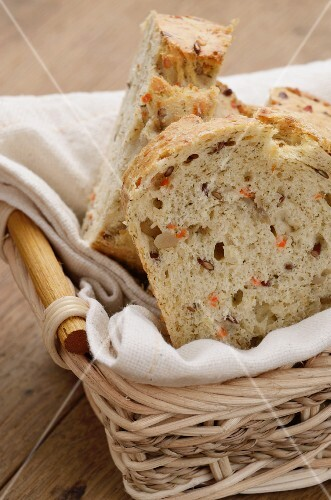 Slices of carrot bread in a bread basket