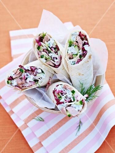 Radicchio, cucumber and tuna wraps