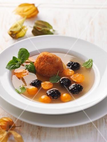 Quince soup with quark croquettes