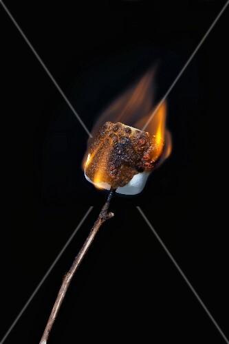 Brennendes Marshmallow am Spiess