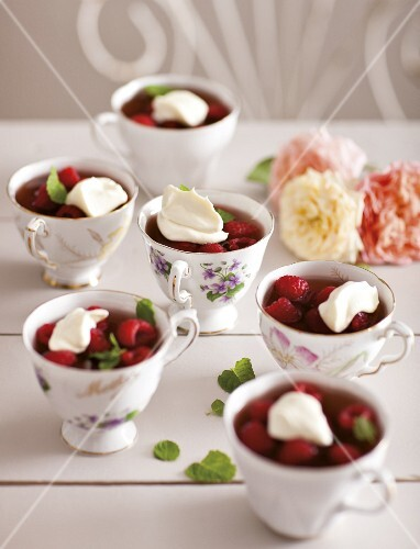 Raspberry jelly topped with cream