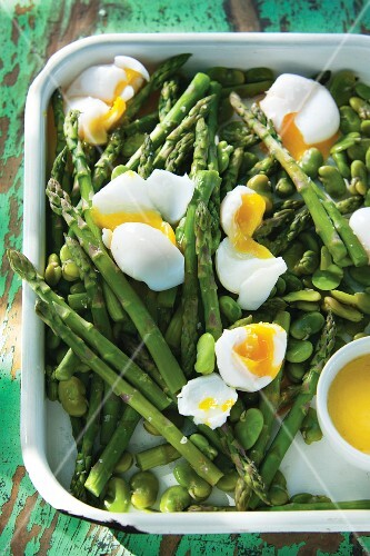 Green asparagus and beans with boiled duck eggs and champagne butter