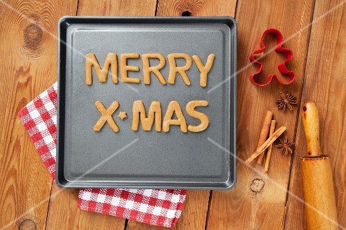 The Words Merry X-Mas Cut from Cookie Dough