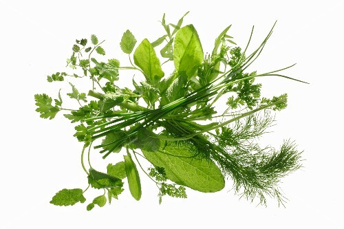 Mixed herbs for a green herb sauce