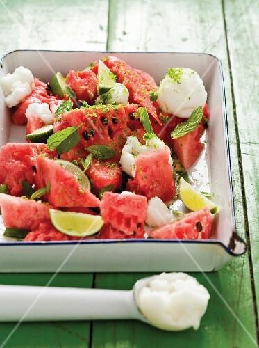 Watermelon salad with lemon sorbet