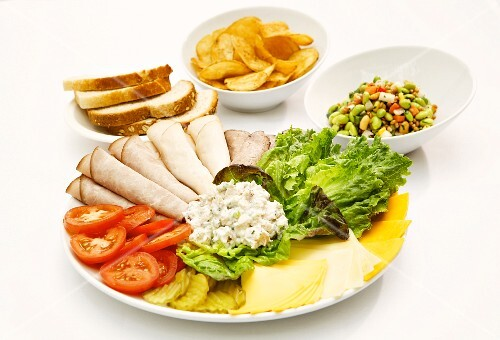 Deli Platter with a Plate of Sliced Bread and Potato Chips