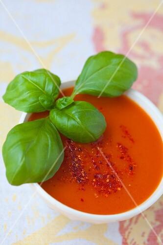 Tomato soup with espelette chilli powder