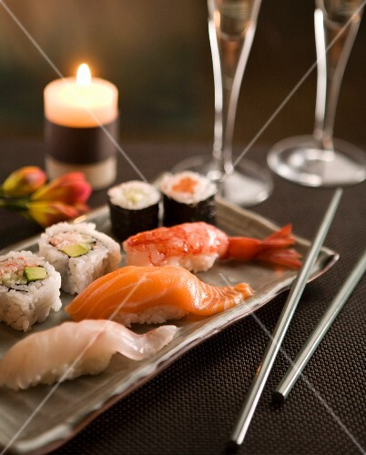 Sushi by candlelight with champagne