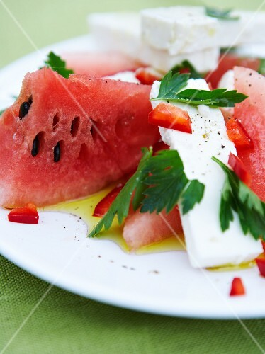 Watermelon with feta and parsley